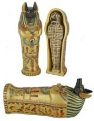 Large Anubis Coffin With Mummy Inside