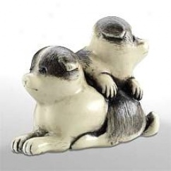 Two Puppies - Japanese Netsuke Dogs