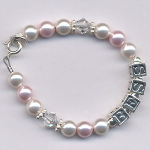 Personalized Pearl & Crystal Bracelet