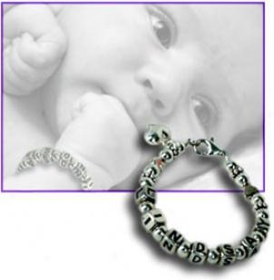 Silver Beads Baby Name Bracelet