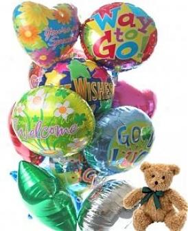 Balloons & Bear-12 Mylar