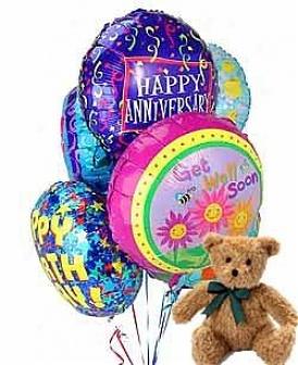 Balloons & Bear-6 Mylar