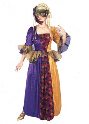 Person of mature age Mardi Gras Queen Costume