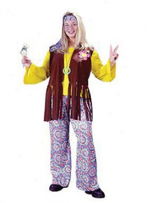 Adult Plus Hippie Chick Costume