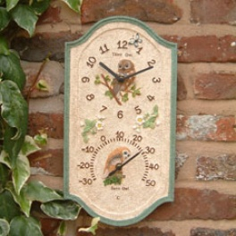 Owl Dual Clock And Thermometer