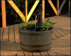 Timber Flul Round Barrel Water Feature.
