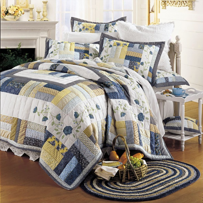Country Picnic Handmade Cotton Quilt With Free* Shams Quilt With Shams