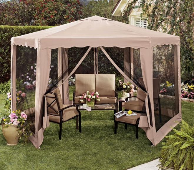 Hexagonal Screened Gazebo