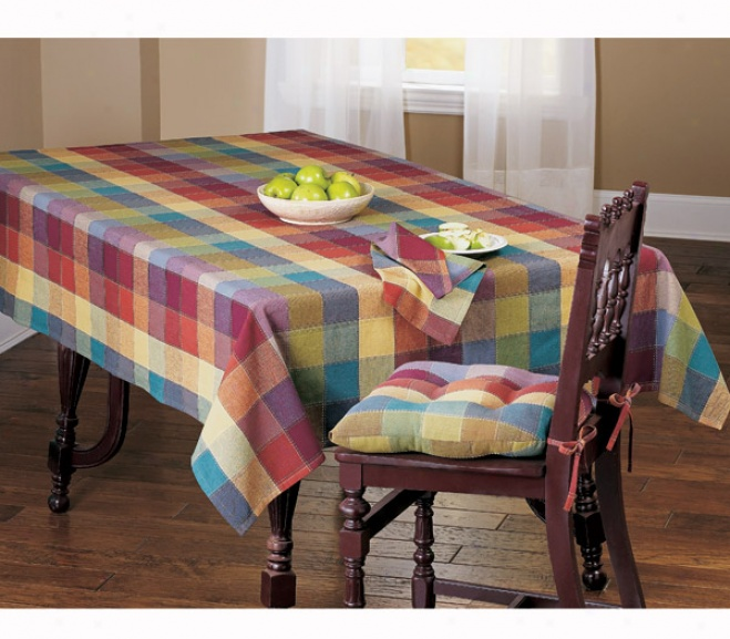 Jeweled Plaid Top-qtitched Cotton Tablecloth Ppacemays