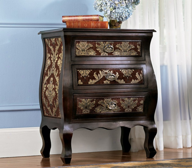 Majestic Hand-upholstered Bombe Chest