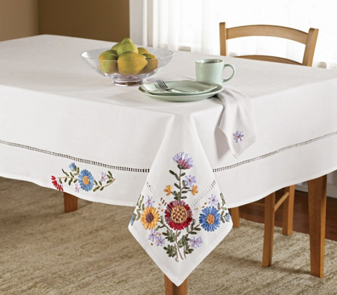 Ribbon Flowers Tablecloth