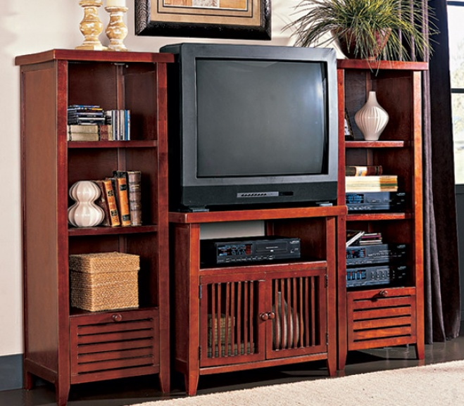 Shutter-front Furniture--buy The Tv Stand And 2 Towers Walnut Tv Stand