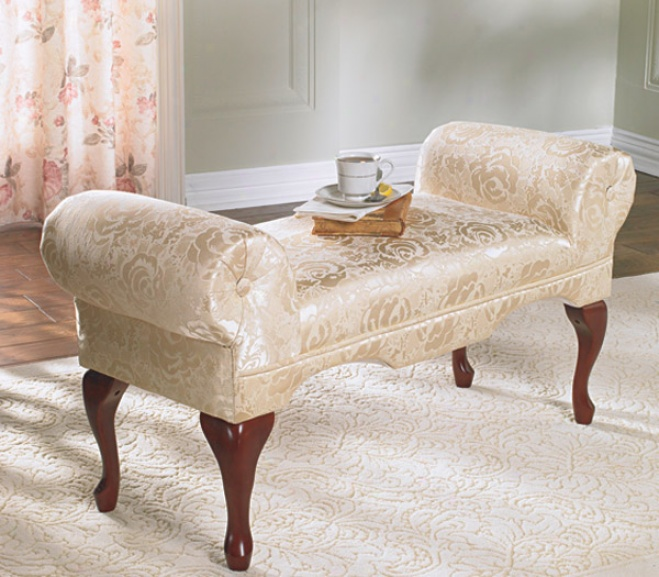 Upholstered Queen Anne-style List Arm Bench