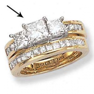 14k Two-tone Princess Cut 3-stone Ring With Channel Set Melee Diamonds