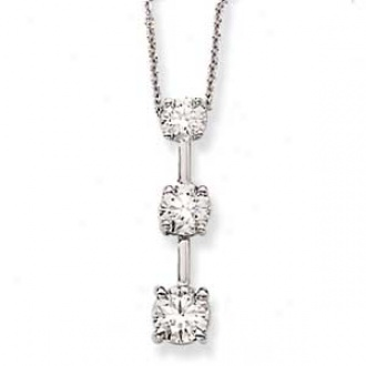14k White Gold 3-stone Diamond Necklace