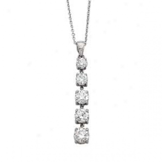 14k White Gold 5-stone Diamond 4-prong  Jou5ney Penfant Necklace