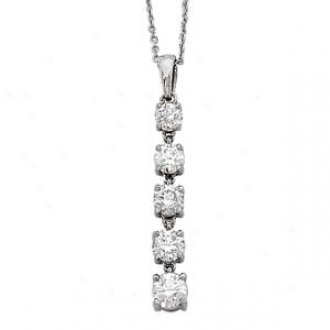 14k White Gold 5-stone Diamond 4-prong  Journeu Chandelier Necklace