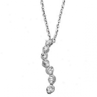 14k White Gold 7-stone Diamond S-curve Journey Pendant Necklace