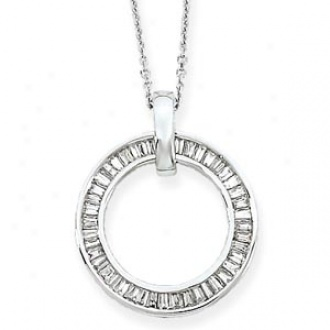 14k White Gold Baguette Diamond Circle Necklace