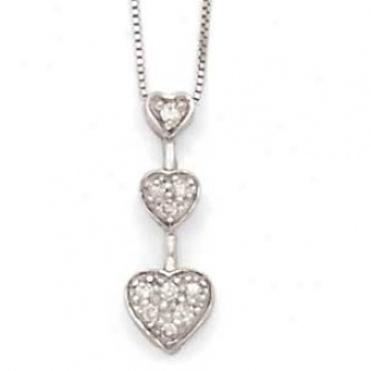 14k White Gold Diamond 3-heart Necklace