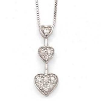 14k White Gold Diamond 3-heart Necklace