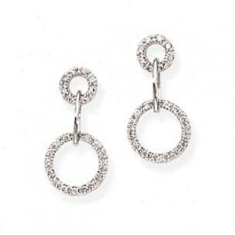 14k White Gold Double Circle Dangle Earrings