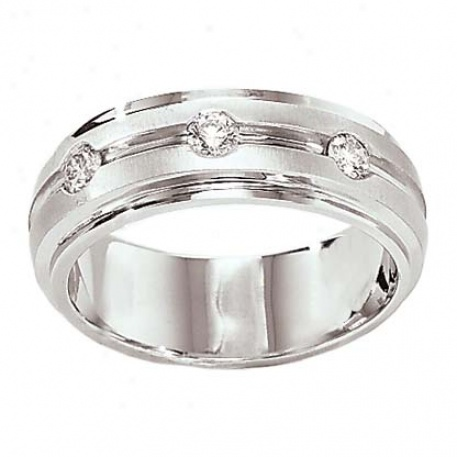14k White Gold Gents 3-rd Diamond Band