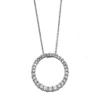 14k White Gold Graruated Circle Diamond Journey Necklace