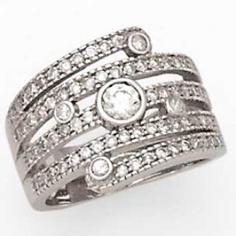 14k White Gold Ladies Righ5 Hand Ring