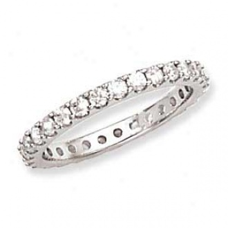 14k White Gold Machine Set Diamond Eternity Band