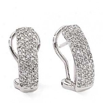 14k White Gold Pave' Set Diamond Earrings