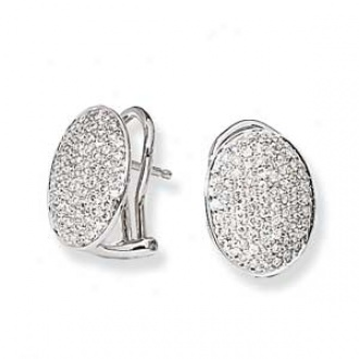 14k White Gold Pave' Set Diamond Earrings