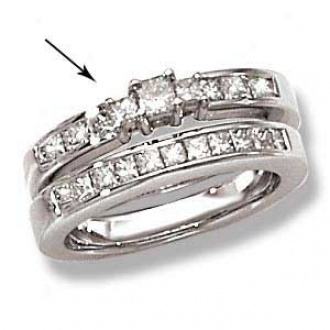14k White Gold Princess Cut 3-stone Ring With Channel Set Melee Diamonds