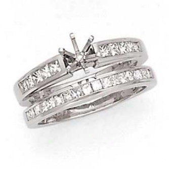 14k White Gold Princess Cut Diamond Semi-mount Bridal Set Diamond .75cttw