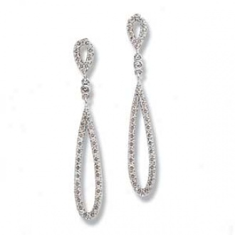 14k White Gold Round Diamond Dangle Earrings