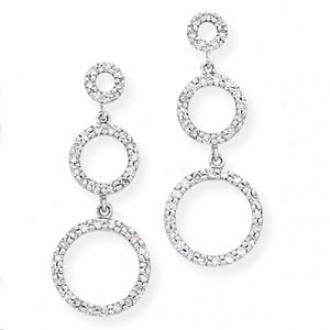 14k White Gold Triple Circle Diamond Earrings