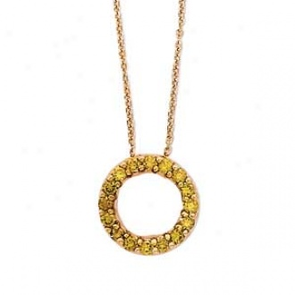 14k Yellow Gold Yellow Diamond Circle Of Love Necklace