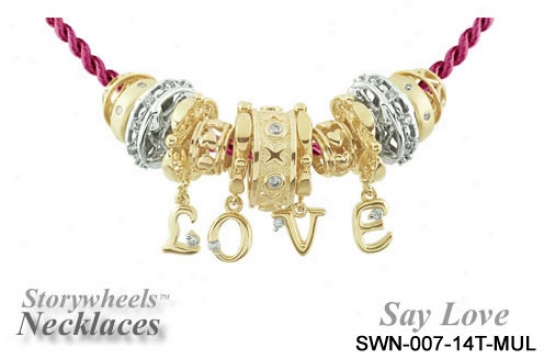 14kk Two-tone Say Love Storywheel Necklace With Red Cord