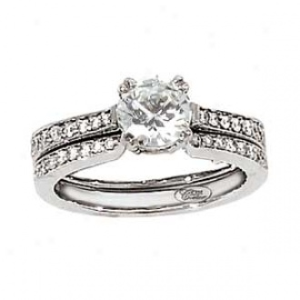 18k White Gold Couture Round Diamond Wedding Set