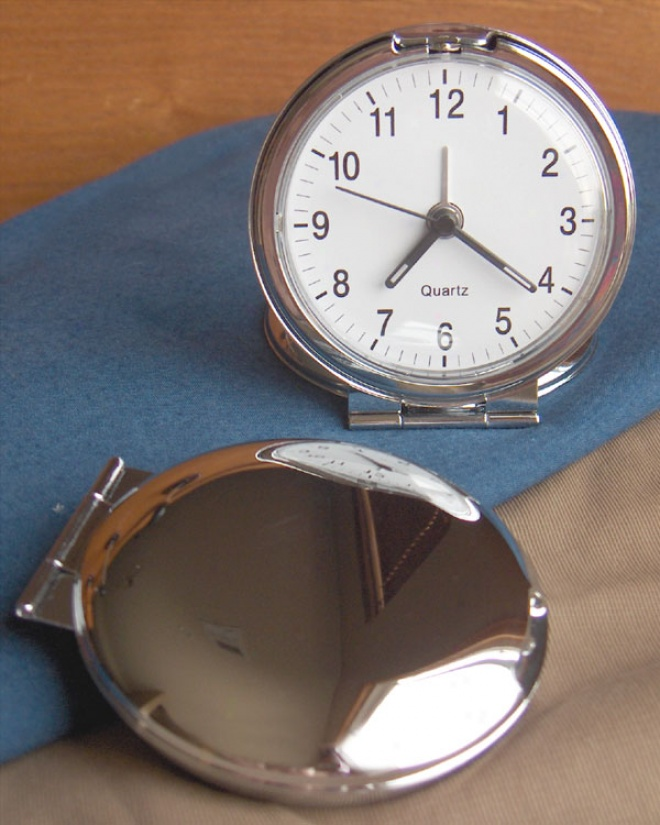 Engraved Flip Over Round Travel Alarm Clock