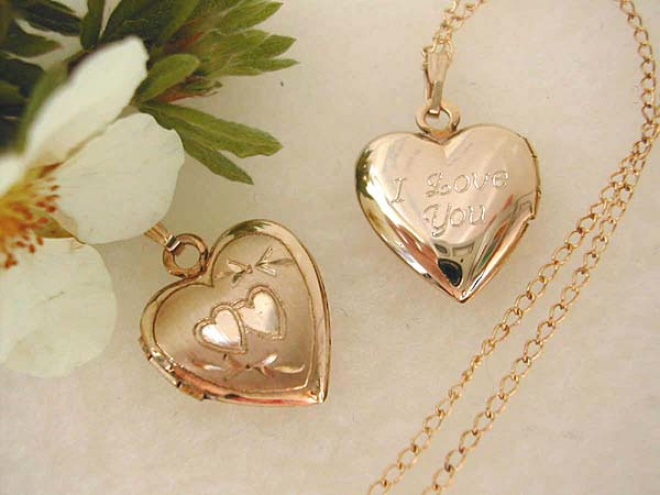 Engraved Gold Filled Heart Locket