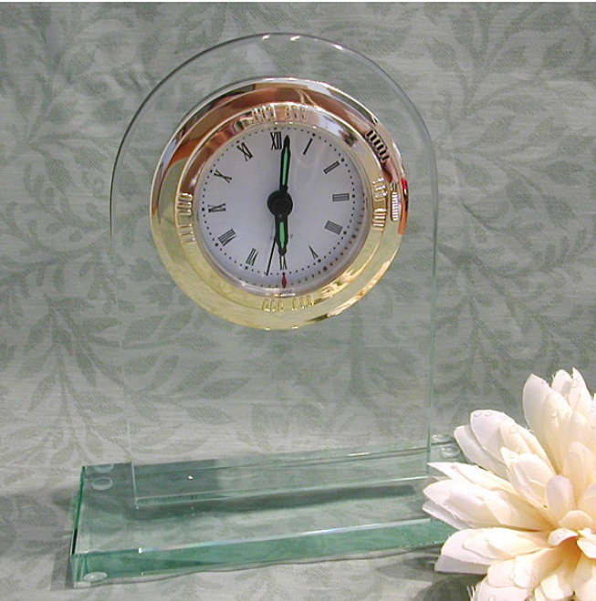 Engraved Jade Glass Desk Clock