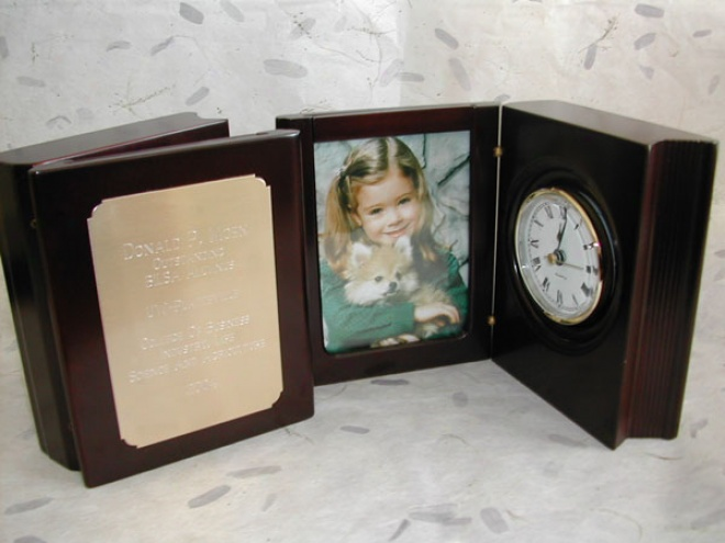 Engraved Rosewood Book Clock Award With Frame