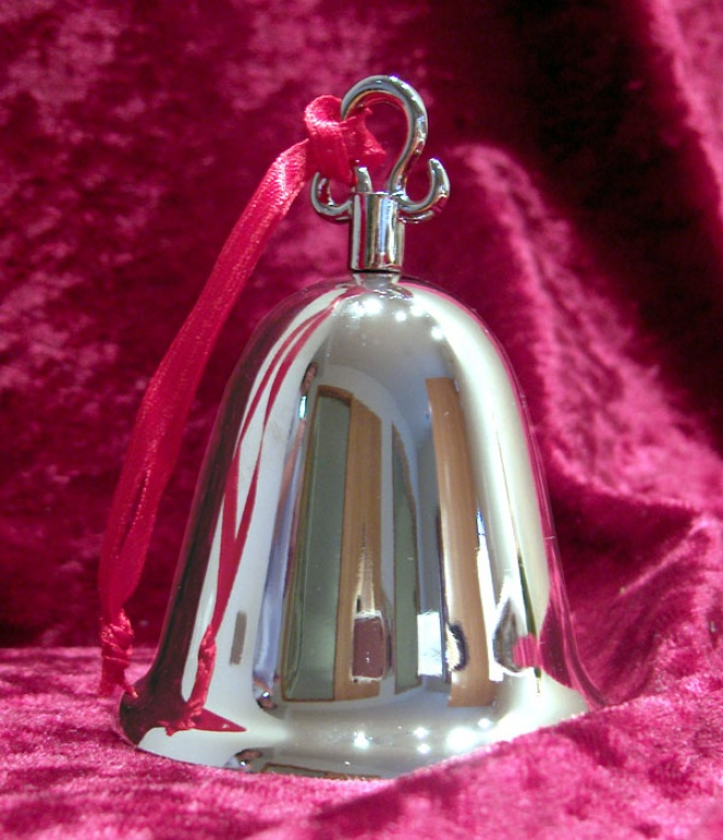 Engraevd Silver Bell With Ribbon