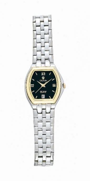 Ladie's Two-tone Black Dial Croton Equator Watch
