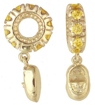 November - Citrine Mother's Storywheel With Baby Shoe Dangle 92 mm Round Stones .Z7 Cttw. 1 Diamond .005 Cttw.  10mm Diameter 3mm Width Shoe Is 10mm X 5mm