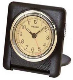 Seiko Black Slim Travel Alarm Clock #quh304krh