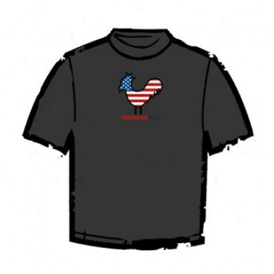 Alpine Logo Usa Rooster T-shirt Charcoal Xlarge