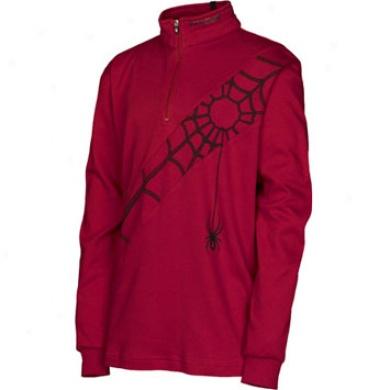 Diagonal Web Cotton Tneck Red/black Medium