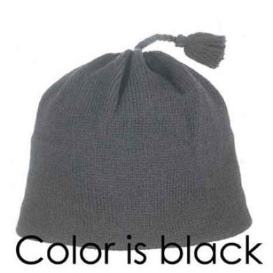 Solid Knit Tassel Beanie Black Xlarge